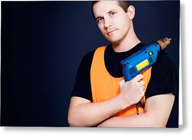 Apprentice Greeting Cards - Carpenter with power drill Greeting Card by Ryan Jorgensen