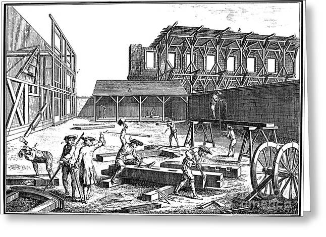 Saw Greeting Cards - CARPENTERS, 18th CENTURY Greeting Card by Granger
