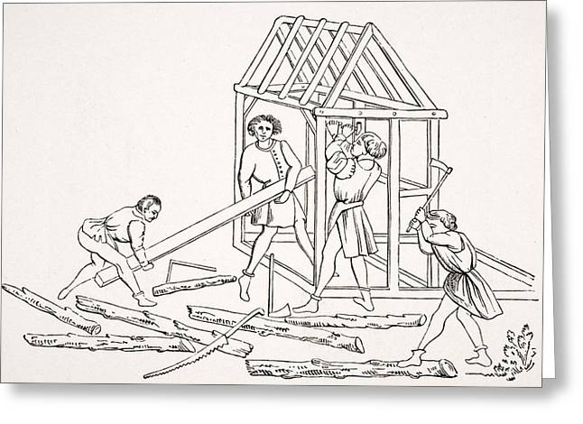 Carpenters. 19th Century Reproduction Greeting Card by Vintage Design Pics