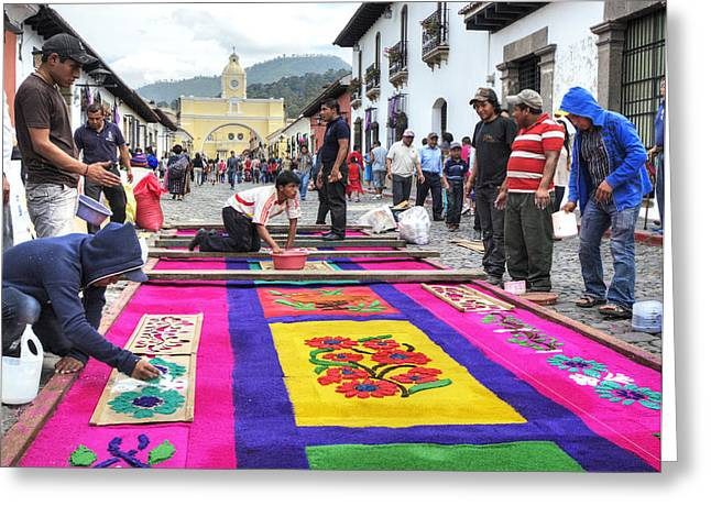 Holy Week Greeting Cards - Carpet Artists Greeting Card by Michael  Scott