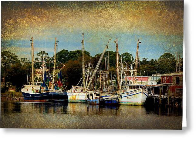 Carrabelle Shrimp Boats In Golden Light Greeting Card by Carla Parris