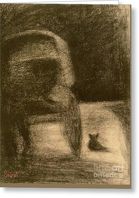 Carriage And Dog Greeting Card by Georges Pierre Seurat