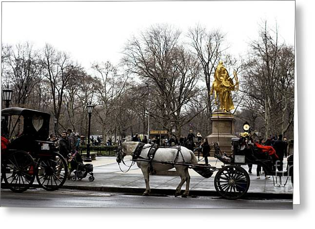 Carriage At The Grand Army Plaza Greeting Card by John Rizzuto