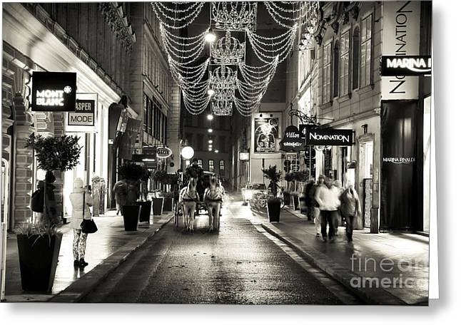 Carriage Ride Down The Street Greeting Card by John Rizzuto