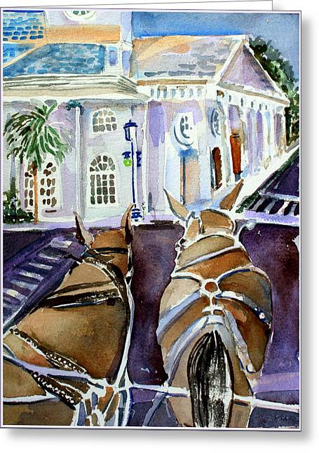 Horse And Buggy Drawings Greeting Cards - Carriage Ride in Charleston Greeting Card by Mindy Newman