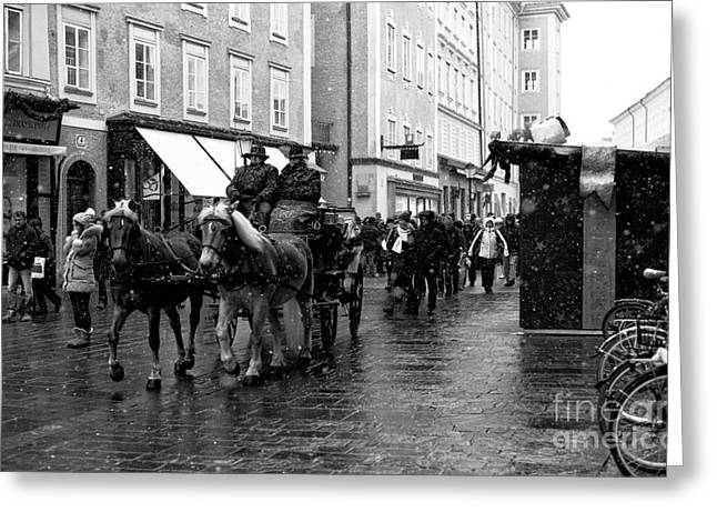 Horse And Buggy Greeting Cards - Carriage Ride Through Salzburg Greeting Card by John Rizzuto