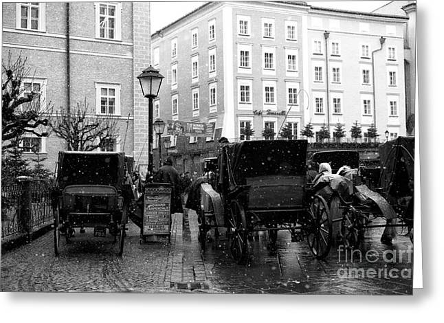 Horse And Buggy Greeting Cards - Carriages in Salzburg Greeting Card by John Rizzuto