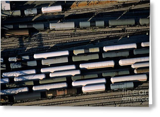 Carriages of freight trains on a commercial railway Greeting Card by Sami Sarkis