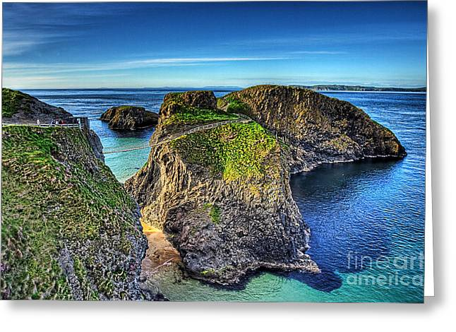 Rope Mixed Media Greeting Cards - Carrick-a-Rede Rope Bridge Greeting Card by Kim Shatwell-Irishphotographer