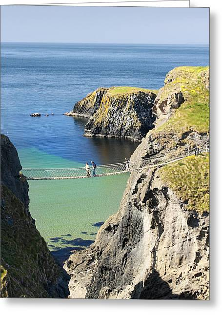 Recently Sold -  - North Sea Greeting Cards - Carrick-a-rede rope bridge Northern Ireland Greeting Card by Pierre Leclerc Photography