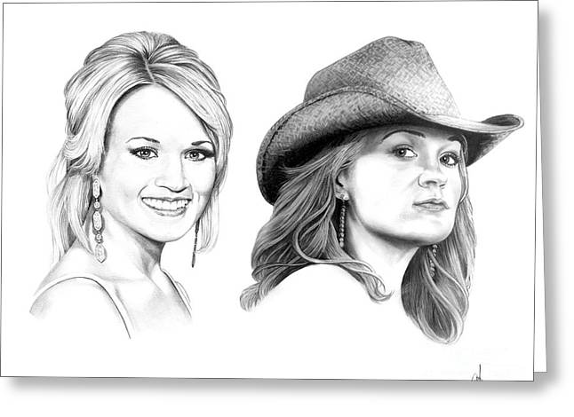 Country Cowgirl Greeting Cards - Carrie and Carrie Underwood Greeting Card by Murphy Elliott