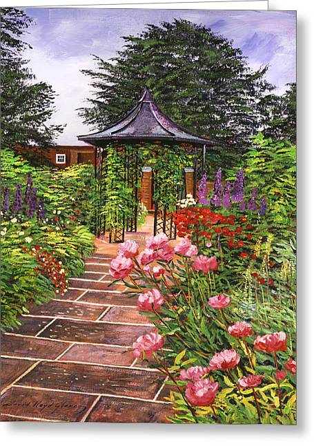 Tiled Greeting Cards - Carrington Garden Greeting Card by David Lloyd Glover