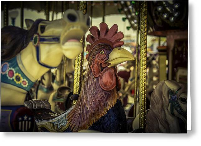 Amusement Ride Greeting Cards - Carrosul Rooster ride Greeting Card by Garry Gay