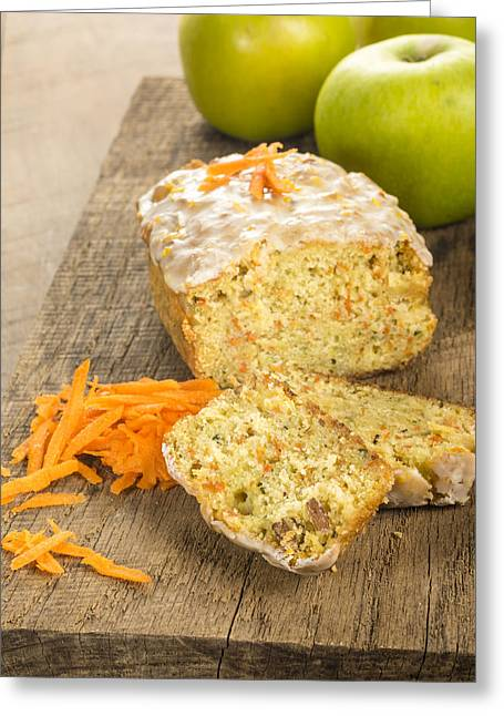 Loaf Of Bread Greeting Cards - Carrot apple coffee cake with carrots Greeting Card by John Trax