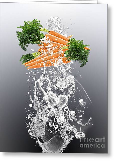 Carrot Splash Greeting Card by Marvin Blaine