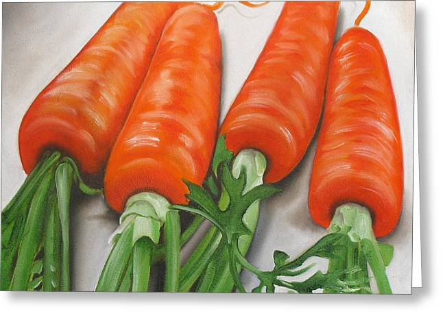 Vegetables Paintings Greeting Cards - Carrots Greeting Card by Ilse Kleyn