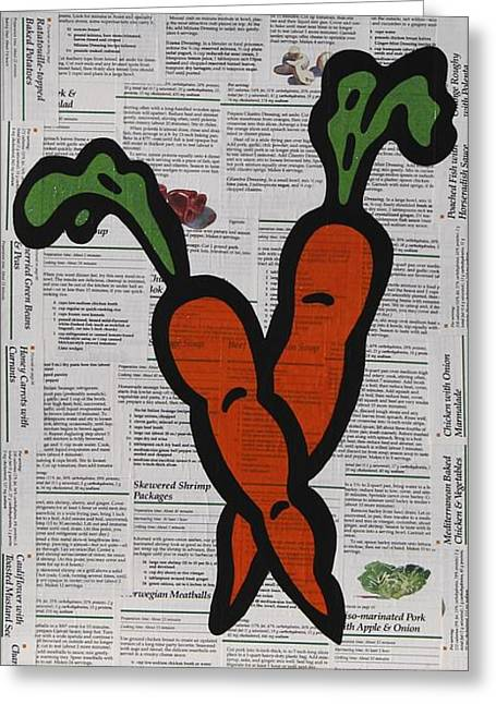 Pop Mixed Media Greeting Cards - Carrots Greeting Card by Jen Gabriele