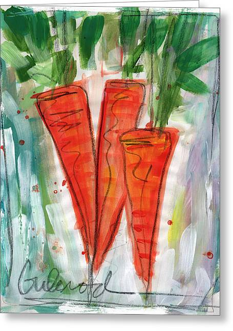 Carrots Greeting Card by Linda Woods