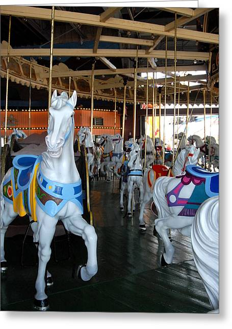 White Horses Photographs Posters Greeting Cards - Carrousel 26 Greeting Card by Joyce StJames
