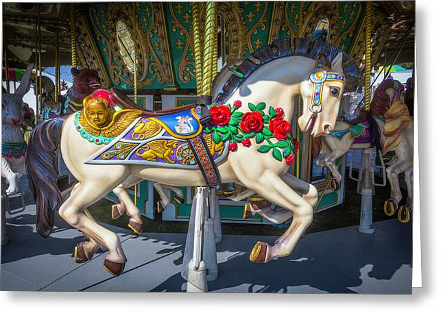 Carrousel Horse With Roses And Angel Greeting Card by Garry Gay