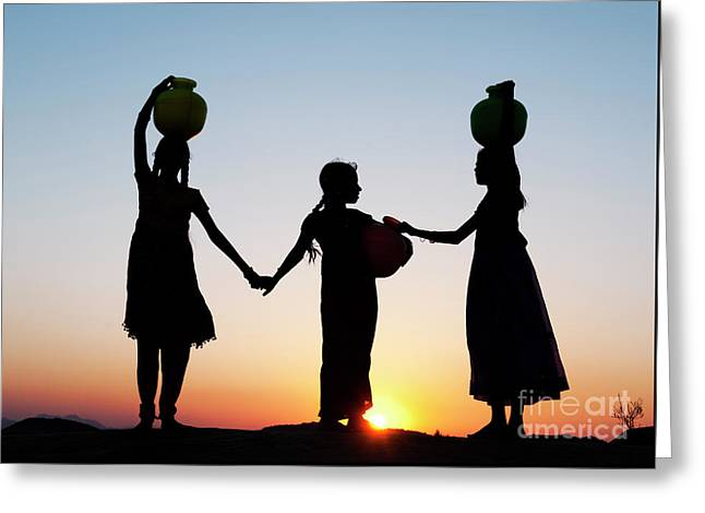 Carrying Water Greeting Card by Tim Gainey