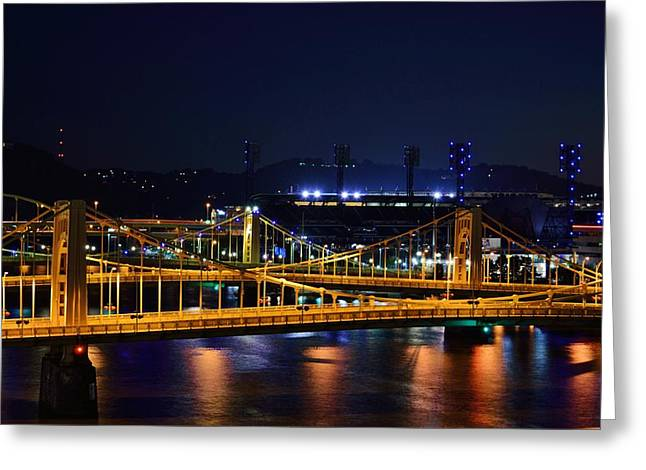 Clemente Greeting Cards - Carson Bridge at Night Greeting Card by William Bartholomew