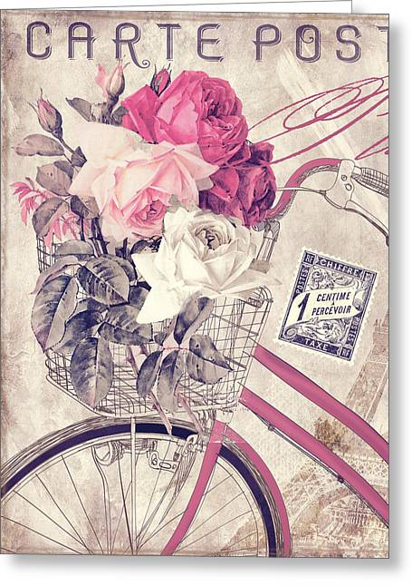 Carte Postale Bicycle Greeting Card by Mindy Sommers