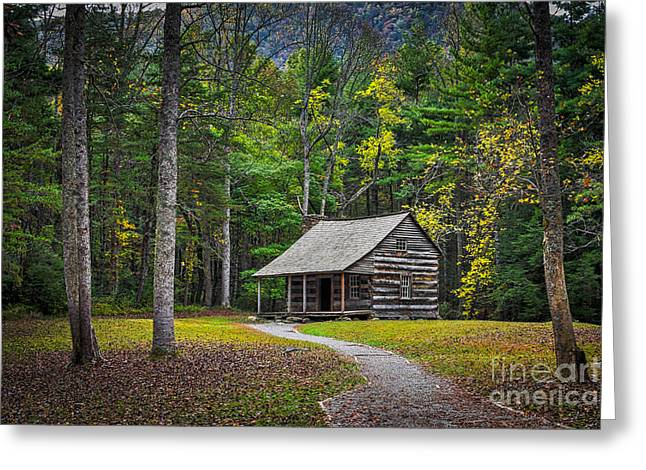 Carter Shields Cabin In Cades Cove Tn Great Smoky Mountains Landscape Greeting Card by T Lowry Wilson
