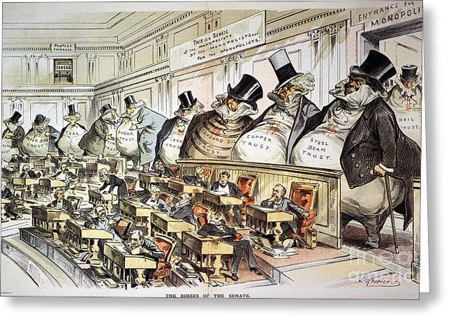 Best Sellers -  - Monopoly Greeting Cards - Cartoon: Anti-trust, 1889 Greeting Card by Granger