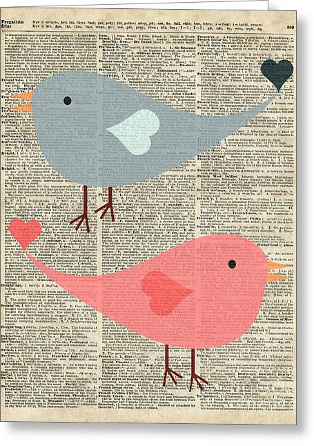 Cartoon Birds In Love  Greeting Card by Jacob Kuch