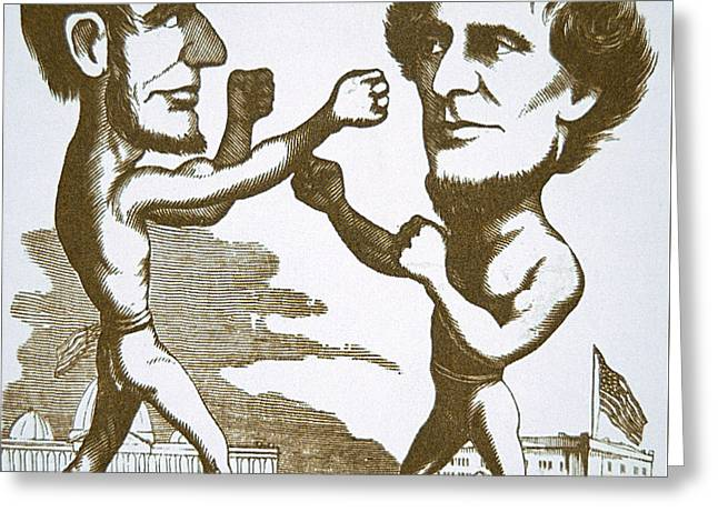 Cartoon Depicting Abraham Lincoln Squaring Up To Jefferson Davis Greeting Card by American School