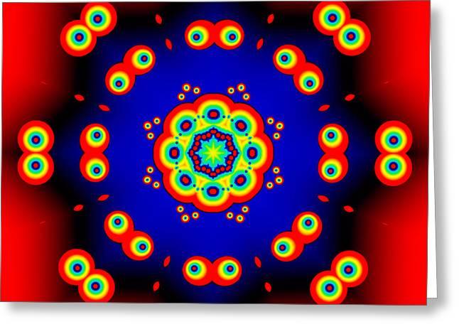 Abstract Geometric Greeting Cards - Cartoon Eyes Fractal Mandala Greeting Card by Marv Vandehey