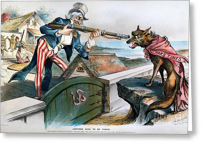 Bank Panic Greeting Cards - Cartoon: Panic Of 1893 Greeting Card by Granger
