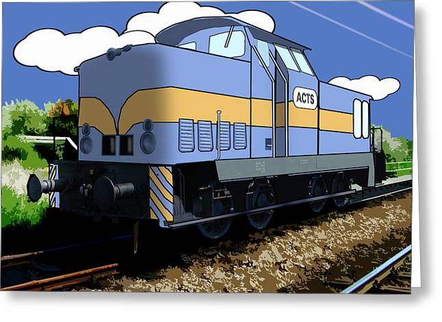 Caboose Greeting Cards - Cartoon Train Greeting Card by Gravityx9 Designs