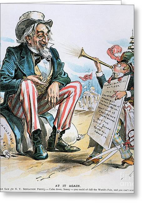 Bank Panic Greeting Cards - Cartoon: Uncle Sam, 1893 Greeting Card by Granger