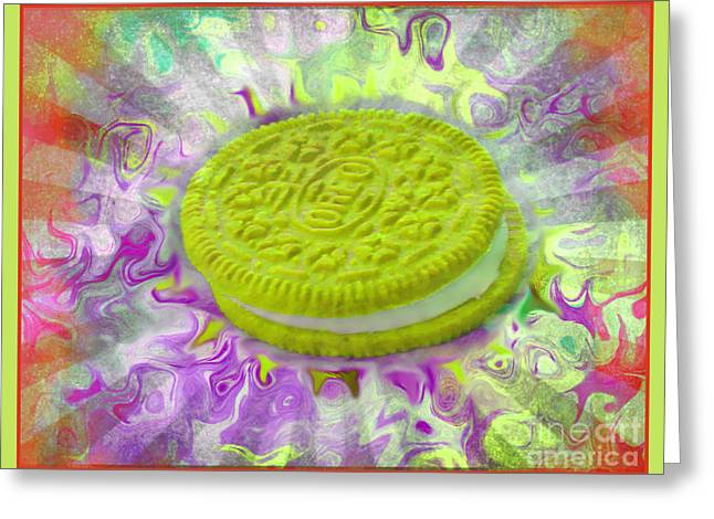 Sandwich Cookie Greeting Cards - Chartreuse Oreo Cookie - Abstract Food Art Greeting Card by Shelly Weingart