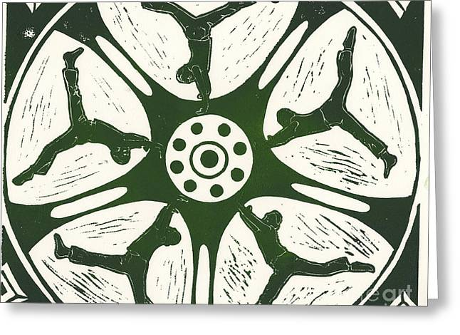 Linocut Reliefs Greeting Cards - Cartwheels Turn To Carwheels- 2 Greeting Card by Kayla Race