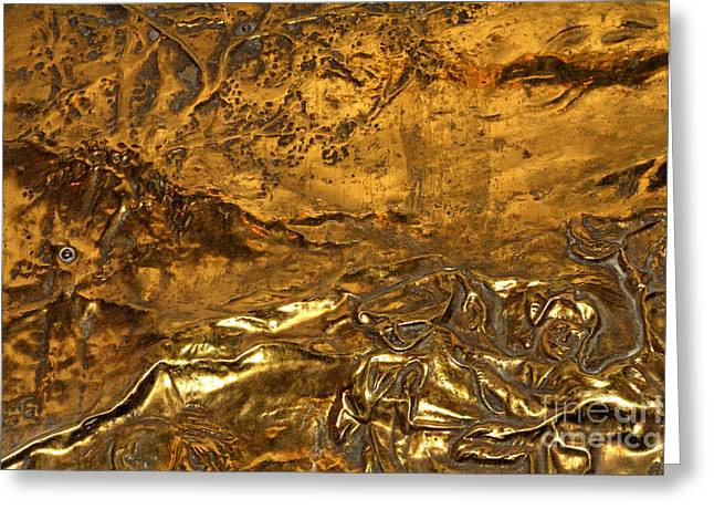 Metallic Sheets Greeting Cards - Carved Bronze Greeting Card by Laura Jelenkovich