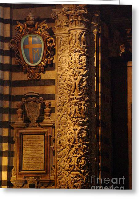 Sienna Italy Greeting Cards - Carved Column Duomo Sienna Greeting Card by Georgia Sheron