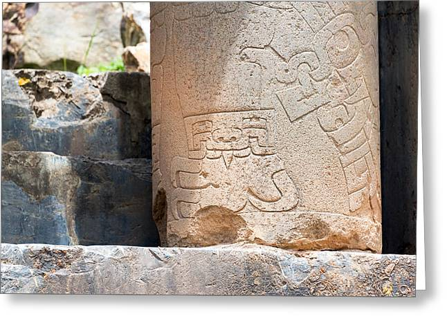 Civilization Greeting Cards - Carved Column in Chavin de Huantar Greeting Card by Jess Kraft