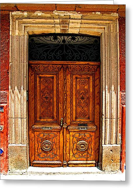 Portal Greeting Cards - Carved Doors Greeting Card by Olden Mexico