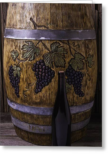 Cooperage Greeting Cards - Carved Grapes On Wine Barrel Greeting Card by Garry Gay