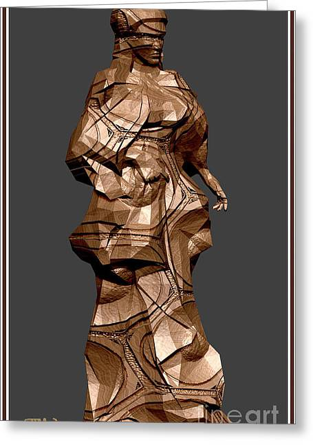 Statue Portrait Greeting Cards - Carved statue  4CS Greeting Card by Pemaro