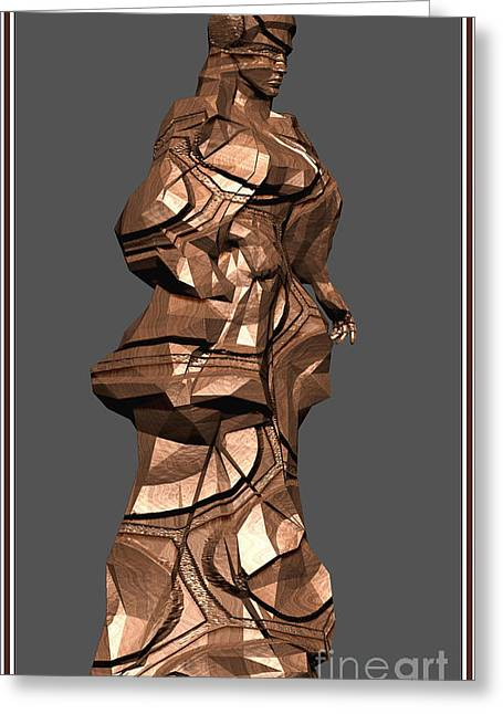 Statue Portrait Greeting Cards - Carved statue  5CS Greeting Card by Pemaro