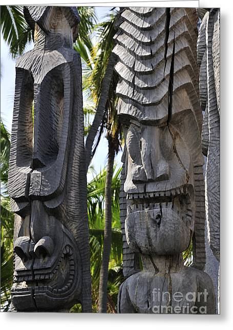 Wooden Greeting Cards - Carved statues at Puuhonua O Honaunau National Historical Park Greeting Card by Andy Smy