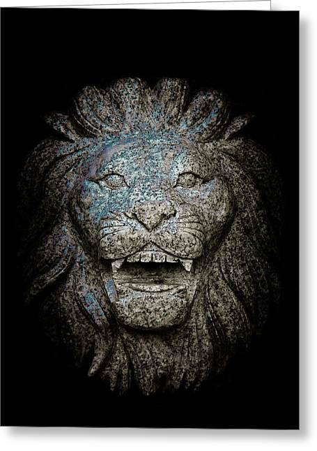 Carved Stone Lion's Head Greeting Card by Loriental Photography
