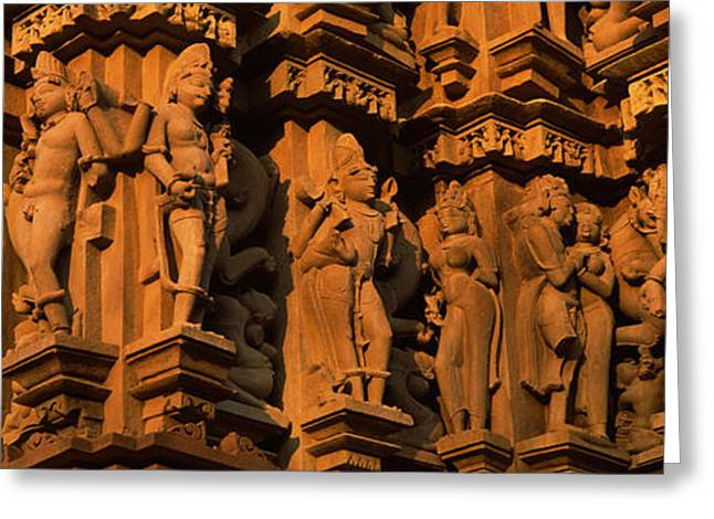 Sculpture Indians Greeting Cards - Carving Details Of A Temple, Khajuraho Greeting Card by Panoramic Images