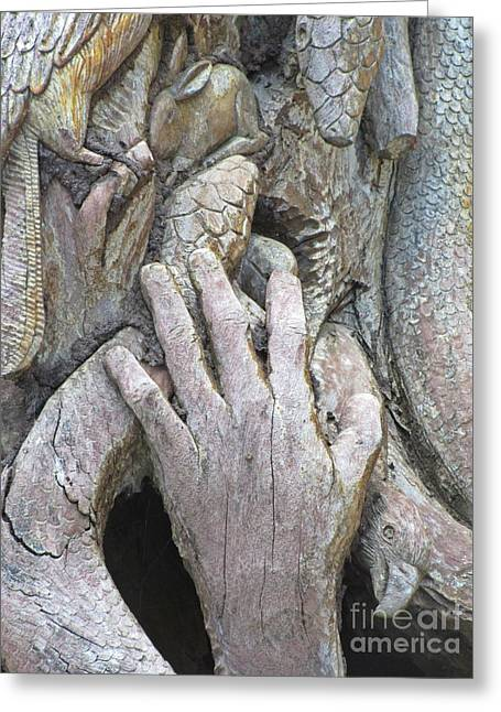 Weathered Reliefs Greeting Cards - Carving of Desperate Hand Greeting Card by John Malone