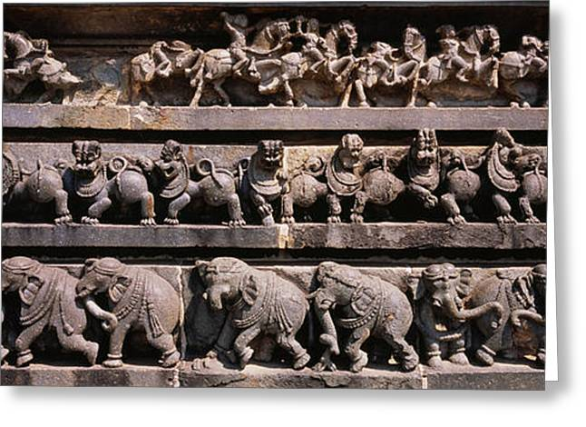 Sculpture Indians Greeting Cards - Carving On The Wall Of A Temple Greeting Card by Panoramic Images