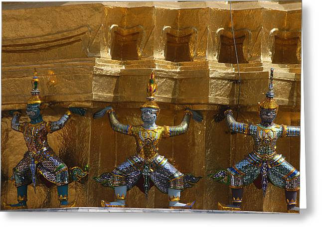 Gilding Greeting Cards - Carvings Of Mythical Gods And Gilding Greeting Card by Anne Keiser